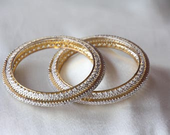 Gold Finish Cz Kadas / Cz Bangles / Wedding Bangles / Cz Bracelet / Cz Bridal Bangles / Crystal Bangles / Gift For Her /  Indian Bangles