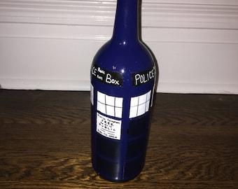 Doctor Who Tardis glass wine bottle vase home decor