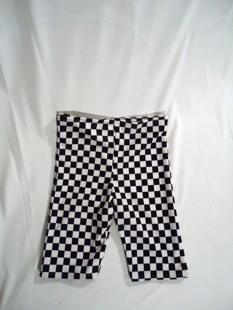 1414a0fffdb86 Plain Jane Biker Shorts High Waist Checkered Black and White | Etsy