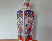 Japanese Imari Porcelain Vase circa 1940 39 s. 8 quot Tall. Four Sided With Trumpet Neck. Hand Painted in Blue, Red Gold. Ships Free in US.