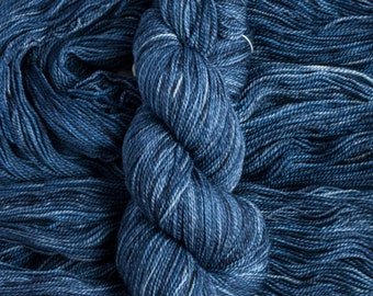 "Feather ""Dark Wash"" – 100% 17 micron merino wool yarn, fingering weight, 400  yards, 115 grams, 2 ply, milled in Canada, superwash"