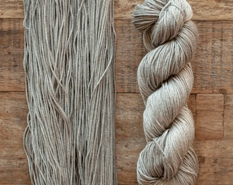 Hand dyed Bamboo Cotton blend DK weight yarn, 270 yards per 100 grams, milled in Italy, grey