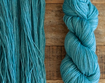 Mohair Wool blend fingering weight sock yarn, 405 yards per skein, non-superwash, synthetic free, soft turquoise with grey undertones