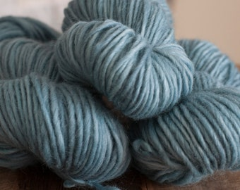 "Hand Dyed Yarn, ""Waterlily"" soft blue Cotswold blend bulky weight yarn, Lopi-style, woolen-spun, non-superwash"