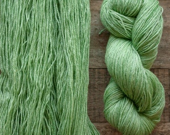 Mohair Wool blend fingering weight sock yarn, 405 yards per skein, non-superwash, synthetic free, Sprout, bright grass green