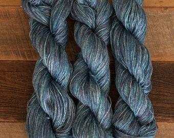 Semi-tonal Blue Ramie/Hemp/Bamboo blend (70/15/15) DK weight yarn, 290 m/100 grams, milled in Italy, mill end
