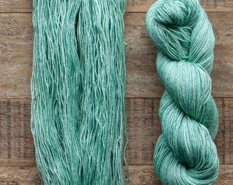 Hand dyed Wool hemp blend sock yarn, fingering weight, 4 ply, nylon free, superwash, 435 yards per 100 grams, Underwater, medium mint green