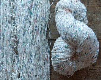 Teal, blue, grey, and peach speckled cotton yarn, sport weight, 2 ply, 1160 metres per 400 grams, price per skein, oversized skein