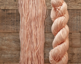Hand dyed Bamboo Cotton blend DK weight yarn, 270 yards per 100 grams, milled in Italy, champagne pink