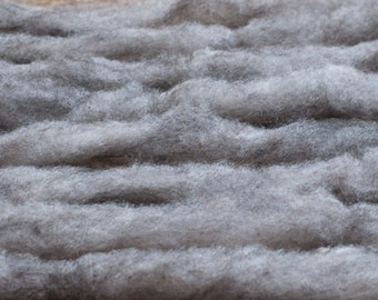 Grey Shetland pencil roving, undyed, 100 grams per bump, raised in the UK, milled in Canada