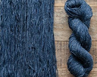 Hand dyed Wool hemp blend sock yarn, fingering weight, 4 ply, nylon free, superwash, 435 yards per 100 grams, Dark Wash, navy blue