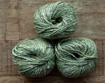 Linen Cotton blend worsted Yarn, 55 metres per 50 grams, variegated green, grey, brown