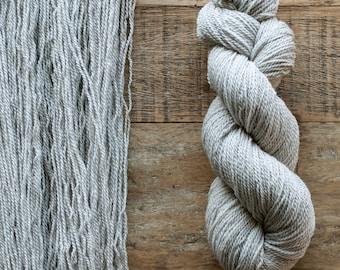 Hand dyed Cormo wool fingering weight yarn, 2 ply, 260 yards, 56 grams, rare breed, pale grey, Woodsmoke