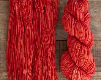 "Hand dyed merino nylon blend fingering weight sock yarn, 425 yards, 100 grams, 4 ply, superwash, ""Bracken"" rich warm orange"