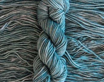 "Hand Dyed Yarn, ""Fir"" soft green grey bulky weight yarn, 100% 19.5 micron wool, 100 yards, 100 grams 8 ply, non-superwash"