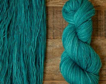 Mohair Wool blend fingering weight sock yarn, 405 yards per skein, non-superwash, synthetic free, teal with tonal variations, Tarn