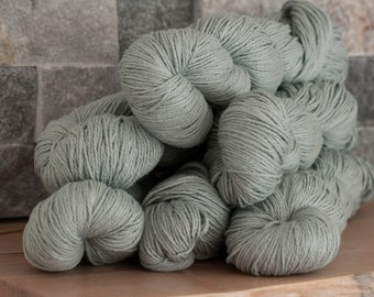 Pale sage Cotton/Silk (75/25) blend yarn, sport weight yarn, 360 m/100 grams, mill-end, milled and dyed in Italy