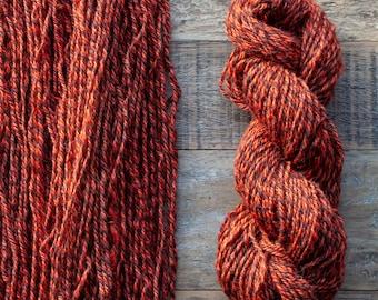 Handdyed Marled Romney Alpaca Blend worsted weight yarn, 175 yards, 100 grams, Canadian, small batch, rare breed, warm rusty orange