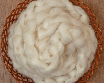 Undyed natural white Canadian Blue Faced Leicester wool roving, Alberta sourced and processed, sold in 100 gram bumps, Sorcha