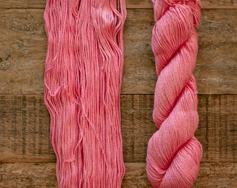 Hand dyed Bamboo Cotton blend DK weight yarn, 270 yards per 100 grams, milled in Italy, coral pink