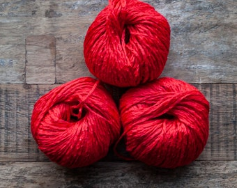 Linen Cotton blend worsted Yarn, 55 metres per 50 grams, very bright saturated red