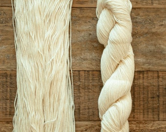 Undyed Bamboo Cotton blend DK weight yarn, 270 yards per 100 grams, milled in Italy, cream