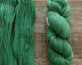 Hand Dyed Corriedale sock yarn, fingering weight, 2 ply, high twist, 435 yards 100 grams, non-superwash, Grasshopper, green