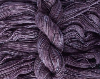"Hand Dyed Yarn, ""Fig"" dark mauve BFL Gotland blend fingering weight yarn, 380 yards, 100 grams, 2 ply, non-superwash"