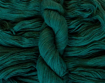 "Hand Dyed Yarn, ""Evergreen"", dark green BFL Gotland blend DK weight yarn, 250 yards, 100 grams, 3 ply, non-superwash"