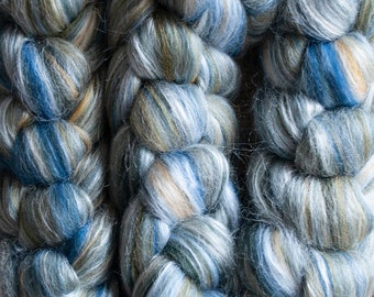 Organically farmed Falklands Merino Corriedale Mulberry Silk blend top, blue green yellow white, 14-26 microns, high lustre