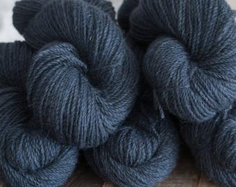 "Hand Dyed Yarn, ""Rain Water"" dark blue grey 100% Romney DK yarn, 250 yards, 100 grams, woolen spun, non-superwash, 2 ply"