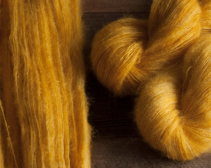 "Featured listing image: Hand dyed mohair silk laceweight yarn, 445 yards, 50 grams, ""Really Good Lemon Curd"""