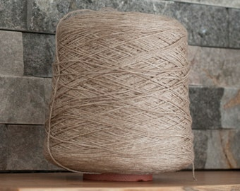 Beige Ramie/Hemp/Bamboo blend (70/15/15) DK weight yarn on the cone, 290 m/100 grams,  2465 metres total, milled in Italy, mill end