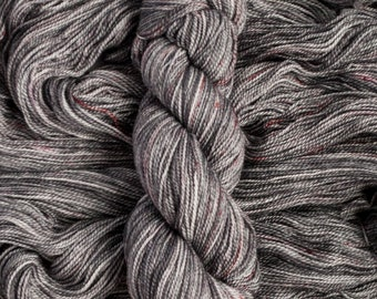 "Hand Dyed Yarn ""Cinder"" grey with speckles 17 micron merino wool yarn, fingering weight, 400 yards 115 grams, 2 ply, superwash"