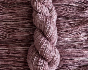 "Hand Dyed Yarn, ""Plum Tart"" soft mauve purple BFL Gotland blend fingering weight yarn, 380 yards, 100 grams, 2 ply, non-superwash"