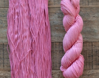 Pink Cotton Fingering weight yarn, 360 metres per 100 grams, price per skein, mill end, limited supply
