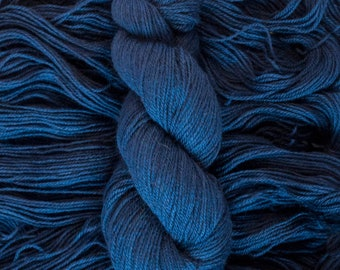 "Hand Dyed Yarn, ""Midnight"" dark blue, BFL Gotland blend DK weight yarn, 250 yards, 100 grams, 3 ply, non-superwash"