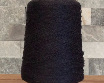 Black Cotton Linen Bamboo blend laceweight yarn, 2870 metres, 410 grams