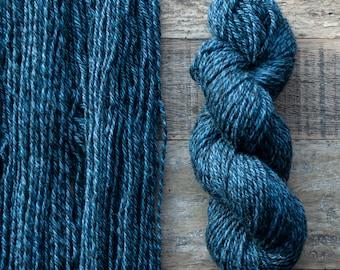 Handdyed Marled Romney Alpaca Blend worsted weight yarn, 175 yards, 100 grams, Canadian, small batch, rare breed, slate blue