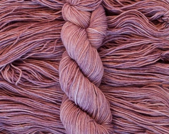 "Hand Dyed Yarn, ""Plum Tart"", soft mauve, Rambouillet Fingering Weight Yarn, hand dyed, 220 yards/60 grams, 3 ply, non-superwash"