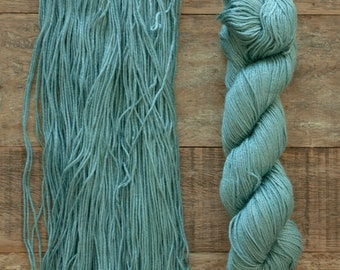 Hand dyed Bamboo Cotton blend DK weight yarn, 270 yards per 100 grams, milled in Italy, smoky teal