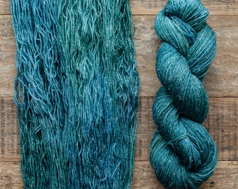 Hand dyed Wool hemp blend sock yarn, fingering weight, 4 ply, nylon free, superwash, 435 yards per 100 grams, Frog Song, green and blue