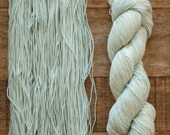 Hand dyed Bamboo Cotton blend DK weight yarn, 270 yards per 100 grams, milled in Italy, pale ice blue