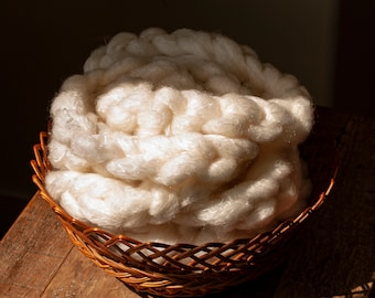 Undyed Canadian Targhee wool/Silk blend pindrafted roving, 100 gram bumps, hand spinning fibre