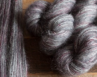 "Hummingbird - Hand dyed mohair silk laceweight yarn, 455 yards, 50 grams, ""Cinder"""