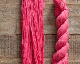 Tanguis Cotton Tencel blend laceweight yarn, 400 metres per 50 grams, Bright Salmon Pink