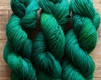 Mohair Wool blend fingering weight sock yarn, 405 yards per skein, non-superwash, synthetic free, Sylvan, rich emerald green
