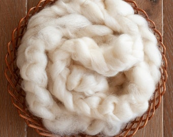 Undyed Natural White Cotswold Wool Roving, Canadian grown and milled, spinning fibre, 100 gram bumps