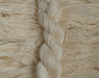 "Waxwing ""Undyed/Natural"" Extra-fine merino/silk (75/25) fingering weight yarn, 435 yards, 100 grams, 4 ply"