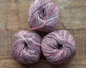 Cotton Bamboo Linen blend worsted weight Yarn, 100 metres per 50 grams, variegated red, grey, brown cream